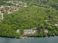 Aerial view of wooded Eagle Heights Woods.